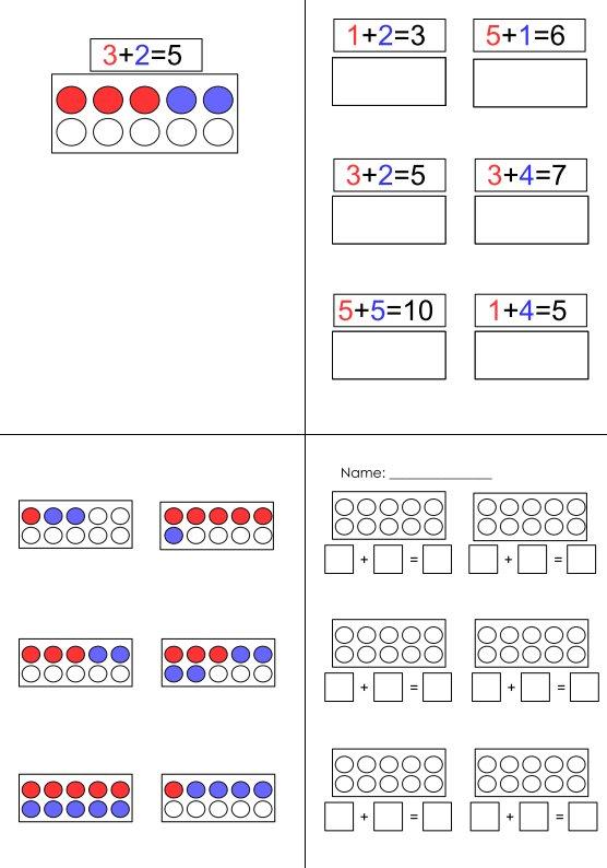Aufgabenmappe - Addition am Rechenzugmodel