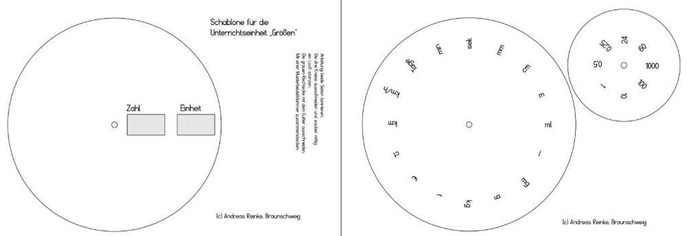 Drehschablone - mathematische Größen - Zahl und Einheit