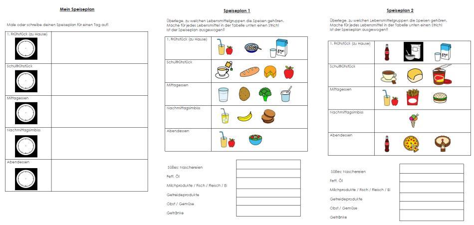 Ernährungspyramide - Speisepläne