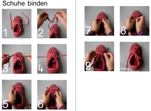 Schleife binden, Schuhe binden