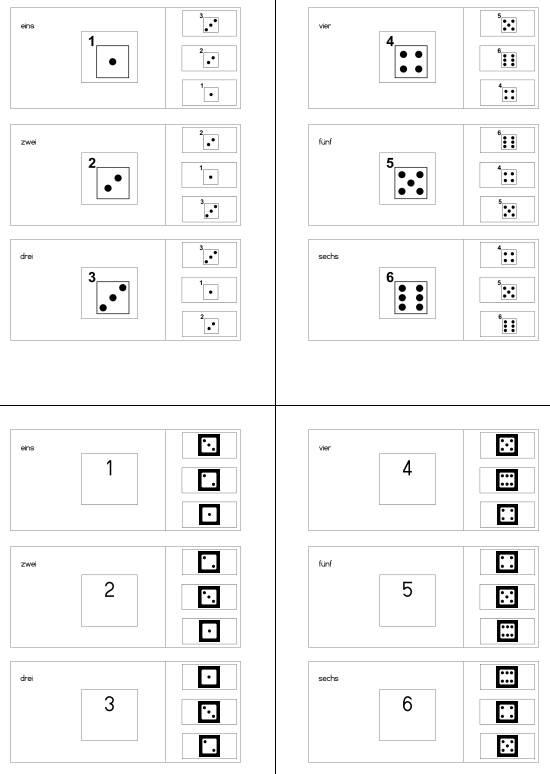 Klammerkarten - Würfelbilder - Zahlen