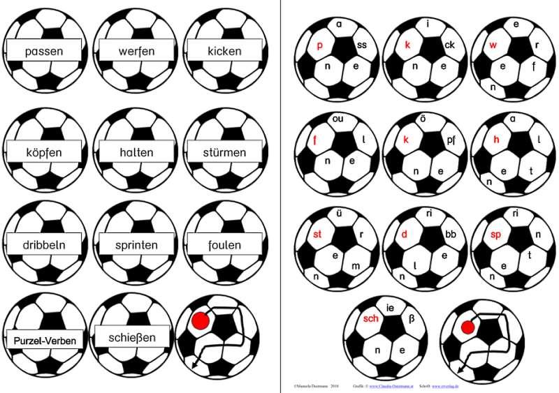 Fußball - Purzelwörter - Tunwörter - Verben aus der Fußballsprache