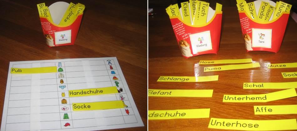 Pommeswörter - Lesen auf Wortebene