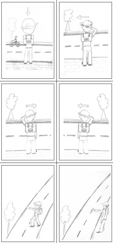 Fußgänger im Straßenverkehr - Bildfolge Straße überqueren