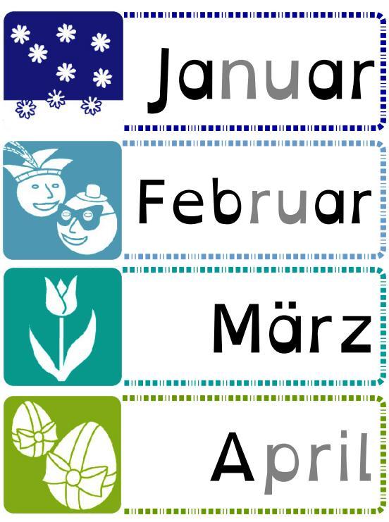 Die Monate in den Montessori-Farben mit Bildern - Jahreskreis