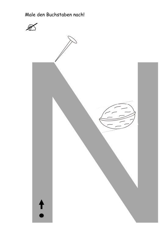 Buchstaben nachspuren + Anlautbilder ausmalen