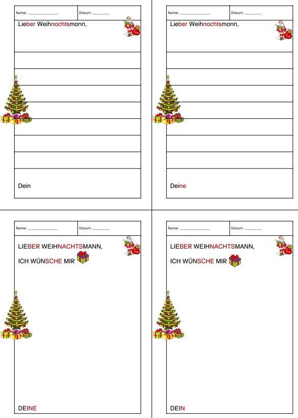 Wunschzettel oder Brief an den Weihnachtsmann