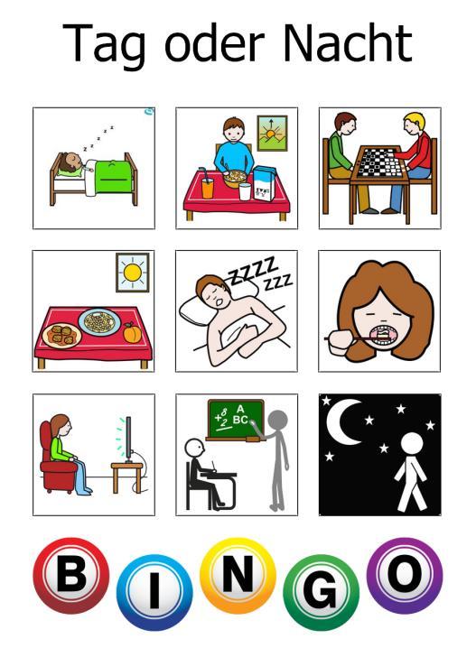 Bingospiel zu Tag und Nacht