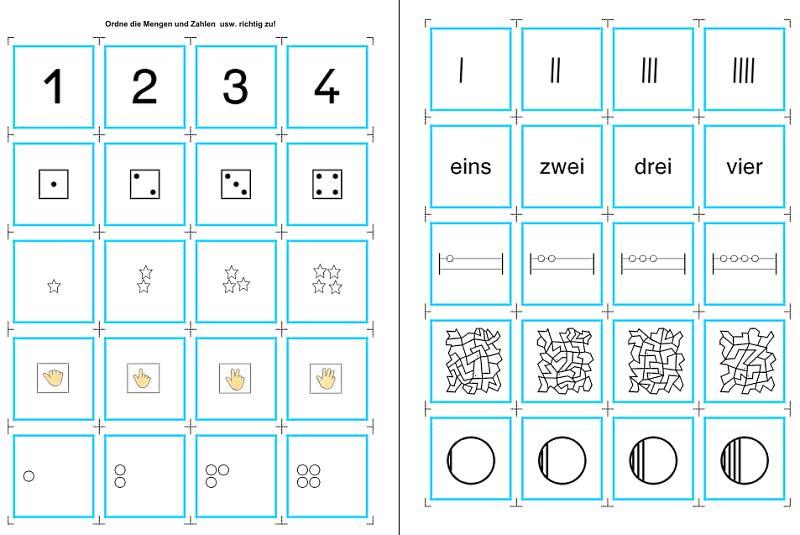 Zahlen, Mengen, Würfel und mehr zuordnen