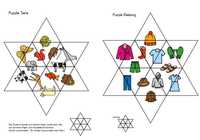 Sternpuzzle Tiere und Kleidung
